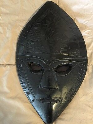 Vintage 1970's Carved Wooden Souvenir Wall Decor Masks From Fiji