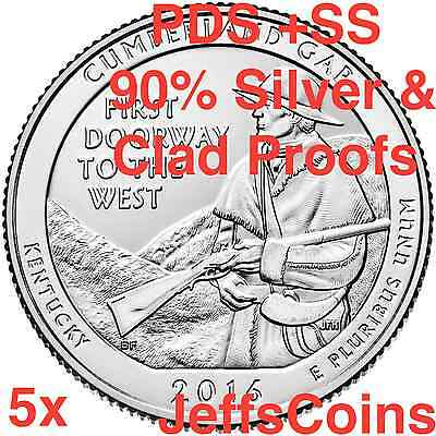 2016 PDSSS Cumberland Gap National Park 5 QUARTER SET P D S S S 90% Silver Proof