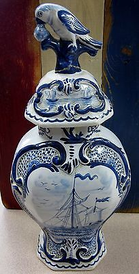 Antique Blue and White Delft Vase with Lid Circa 1900s Free Shipping!