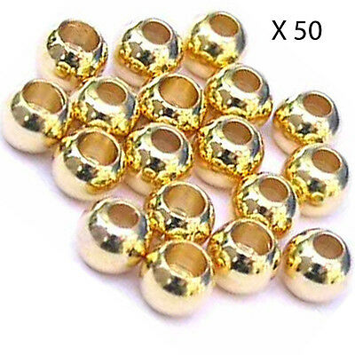 50 perles laiton couleur or pour mouche brass beads fly tying billes 2.4/2.8mm