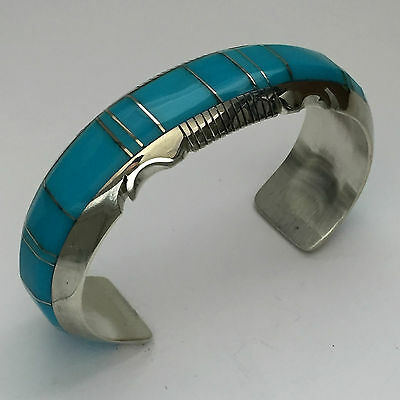 Sterling Silver Navajo Inlay White Buffalo Turquoise Sugilite Cuff Bracelet