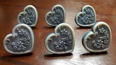 Set of 6 Vintage poly heart drawer pulls with screws