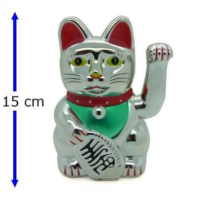 gro e winkekatze silber maneki neko 27 cm hoch. Black Bedroom Furniture Sets. Home Design Ideas