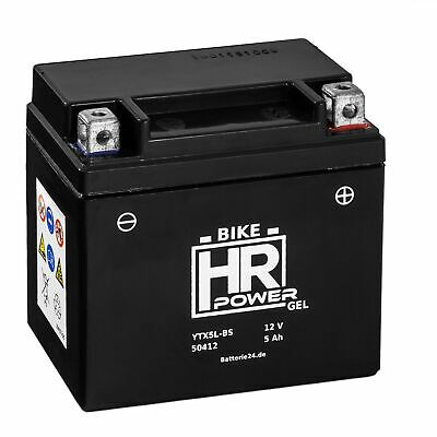 HR Bike Power 12V 5Ah GEL Motorrad Rollerbatterie YTX5L-BS CTX5L-BS 50412