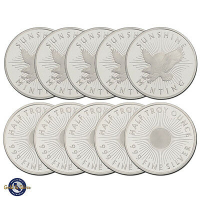 1/2 oz Sunshine Minting .999 Fine Silver Round --Lot of 10