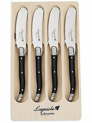 Laguiole Style Butter Knife Spreader Set 4 Piece Stainless Steel Black Handle