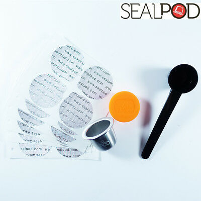 Sealpod Starter Kit, 1 Nespresso Reusable Capsule, Spoon, 24 Stickers (ORANGE)