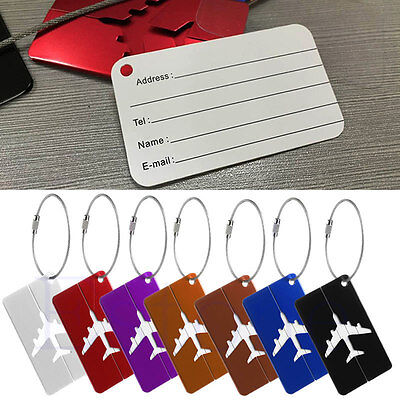 Travel Luggage Bag Baggage Aluminium Tag Suitcase Name Address ID Secure Label