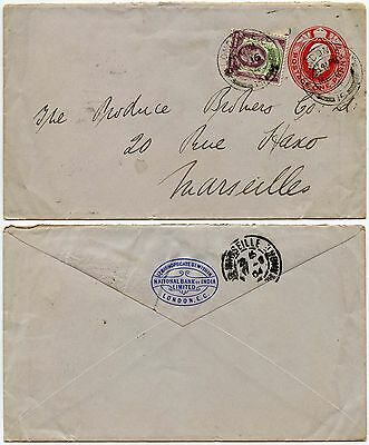 GB NATIONAL BANK of INDIA Stationery KE7th 1904 +1 1/2d Franking..to FRANCE