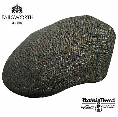 Failsworth Stornoway Brown Green Harris Tweed Peaky Blinders Style Flat Cap Hat