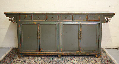 Chinese Sideboard, painted green lacquer. Mahogany drawers. 19th century