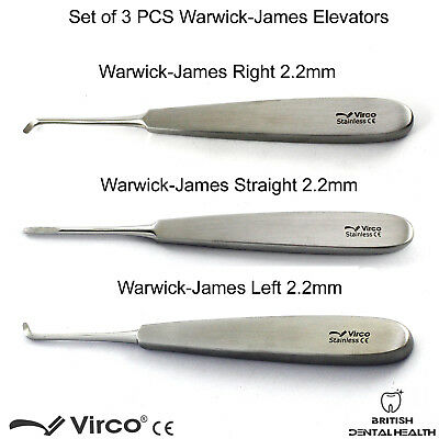 Warwick James Tooth Extraction Dental Root Elevators Surgical Lab Tool Set 3