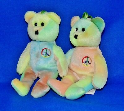 "Ty PEACE Ty-Dye Bear (Stitched Nose Version) (5"" Jingle Beanie) 2001 NT"