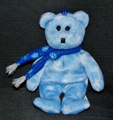 "Ty 1999 HOLIDAY TEDDY Bear (Stitched Nose) Blue (5"") (Jingle Beanie) 2001 NT"