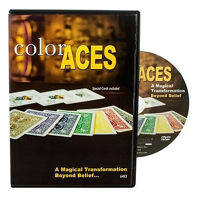Color Aces - Magic Tricks DVD - Bicycle Cards Included - New