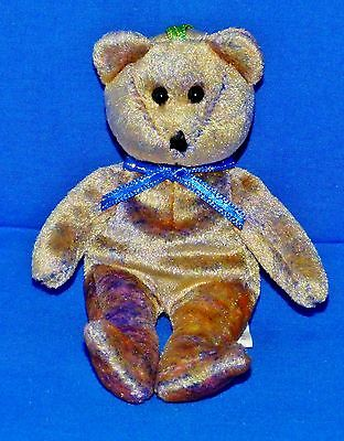 """Ty CLUBBY III Gold Bear (Stitched Nose Version) (5"""") (Jingle Beanie) 2001 NT"""
