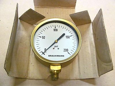 "Vintage Braukman 0-200 PSI Dry Gauge, 4"" Diameter, With 1/4"" Threaded Connector"
