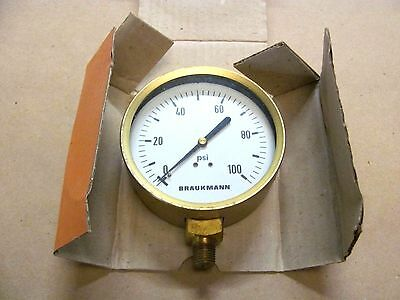 "Vintage Braukman 0-100 PSI Dry Gauge, 4"" Diameter, With 1/4"" Threaded Connector"