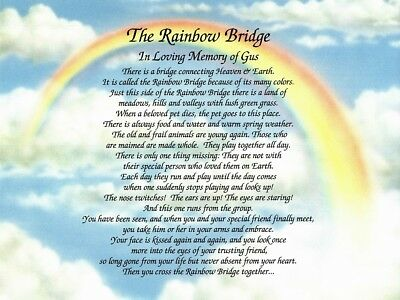 The Rainbow Bridge Memorial Poem For Loss Of Beloved Pet Personalized Gift