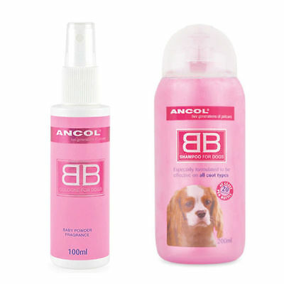 Ancol Baby Powder Fragrance Dog Cologne Perfume Scent & Shampoo Baby Powder Set