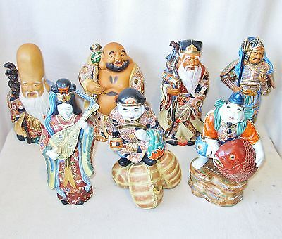 "BIG Set of Japanese Satsuma Style Moriage 7 LUCKY GODS Porcelain Statues (12.8"")"