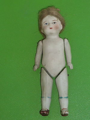 "Vintage 5 1/2""  Girl  bisque doll painted shoes and socks Wire Strung Mohair wig"