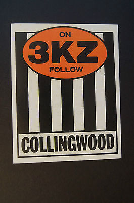 COLLINGWOOD MAGPIES - Vintage - On 3KZ Follow - Collingwood Sticker.