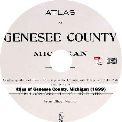 1899 Genesee County, Michigan Atlas - MI History Maps Plat Book on CD