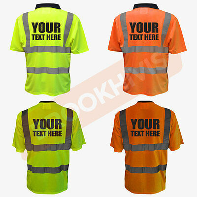 Custom Print Hi Viz Vis Personalised Polo T-Shirt Tee Shirt Safety Work Wear