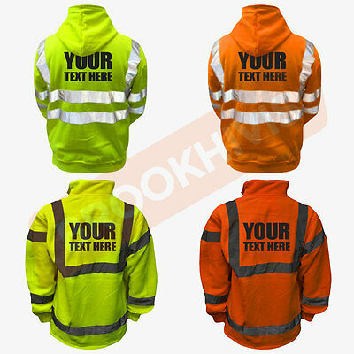 Custom Print Hi Viz Vis Personalised Top Hoodie Fleece Sweater Safety Work Wear