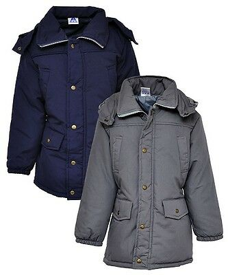 New Girls Kids Padded Parka Jacket School Coat Navy Grey Age 6 7 8 9 10 11 12