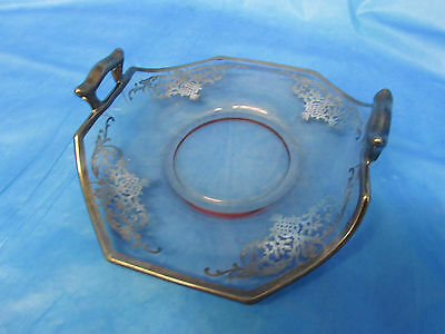 Vintage Silver Overlay Glass Candy Dish