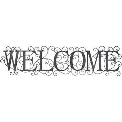 Vintage Blue Metal WELCOME Wall Decor