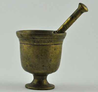 Vintage Solid Bronze Mortar And Pestle Herb/spices Grinder