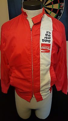 Vintage 70s 80s Coke Coca Cola Real Thing Windbreaker Jacket Coat USA Drink