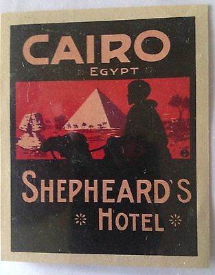Vintage Luggage Label, Cairo Egypt,Shephheards Hotel