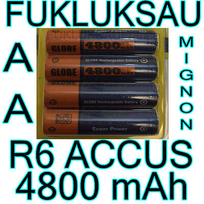 4 x PILES AA | PILES ACCUS RECHARGEABLE MIGNON 4800mAh Ni-MH 1,2V R6 LR06 NEW