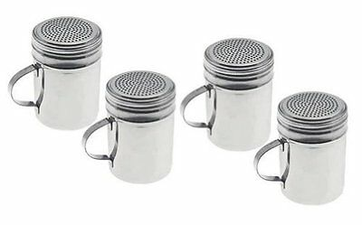 Set of 4 - Stainless Steel Dredge Shakers with Handle - 10 Ounce Free Shipping