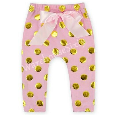 Pink and Gold polka dot girls baby toddler leggings. Many sizes, AU SELLER.