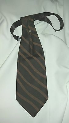 Mens Black Satin and Chocolate Brown Striped Ascot Cravat Victorian Dickens