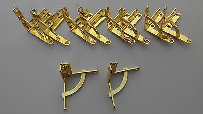 Jewellery box hinge 41x44mm – 5pairs. Quadrant alloy hinges. Gold color
