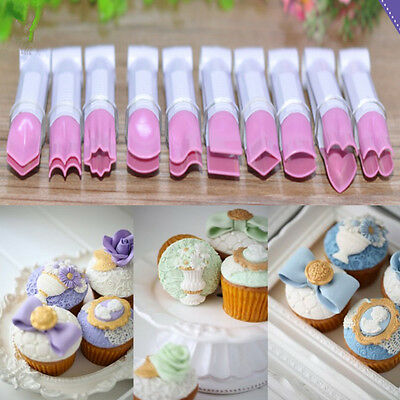 10Pcs Cake Fondant Embossed Crimper Clip Cutter Mold Sugarcraft Decorating Tool