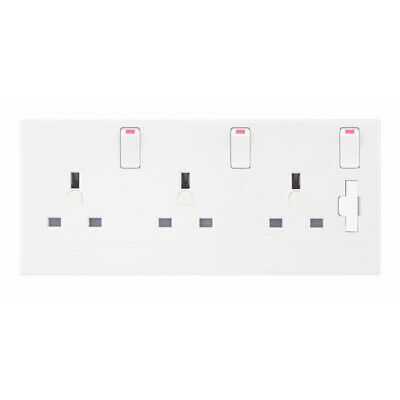 13A 1 and 2 to 3 Gang Switched Plug Socket Converter Triple White