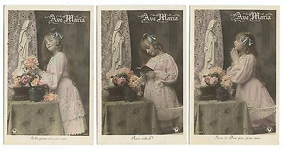 VIERGE.RELIGION. PRIèRE.AVE MARIA.CHILD.GIRL.PRAYER.ENSEMBLE  3 SET OF 3 CARDS