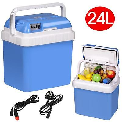 Large 24L Cool Box Insulated Cooler Home & Heater With 12V/240V AC DC Adaptors