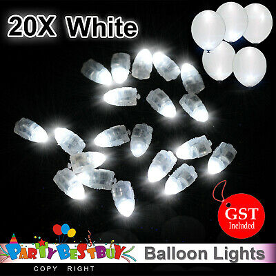 20X LED Balloon Lights White Colour Paper Lantern Light  Lamp Glow Wedding Party