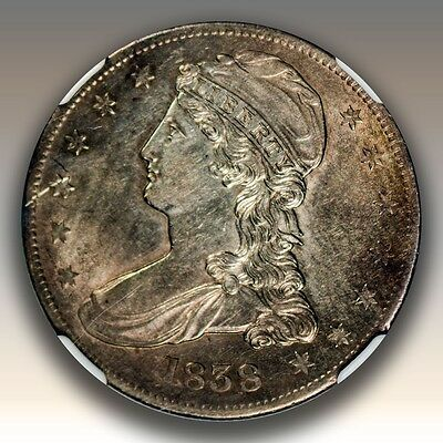 1838 50C Reeded Edge Capped Bust Half Dollar NGC Graded AU55