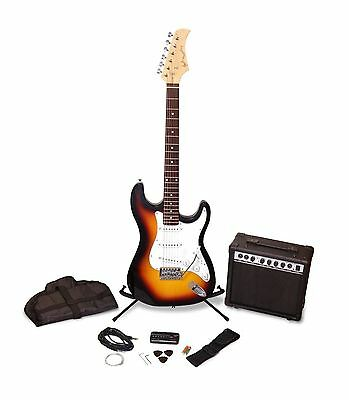 Sunburst Full Size Electric Guitar Package 15W Amplifier Tuner Right Handed