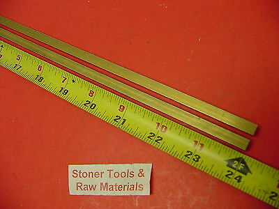 "2 Pieces 1/4"" x 1/4"" C360 BRASS SQUARE BAR 24"" long Solid .25"" Mill Stock H02"