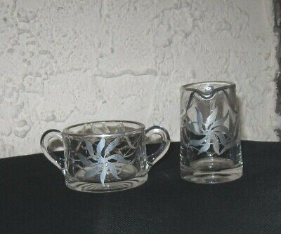 Unique sugar and creamer set Vintage silver overlay Big Flower Very old set